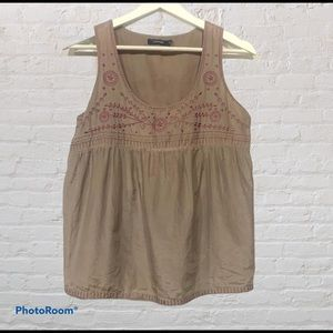 Silk Embroidered Babydoll Top Sz S